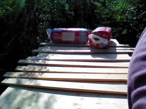 Trusses laid out, before cutting them into the right shape